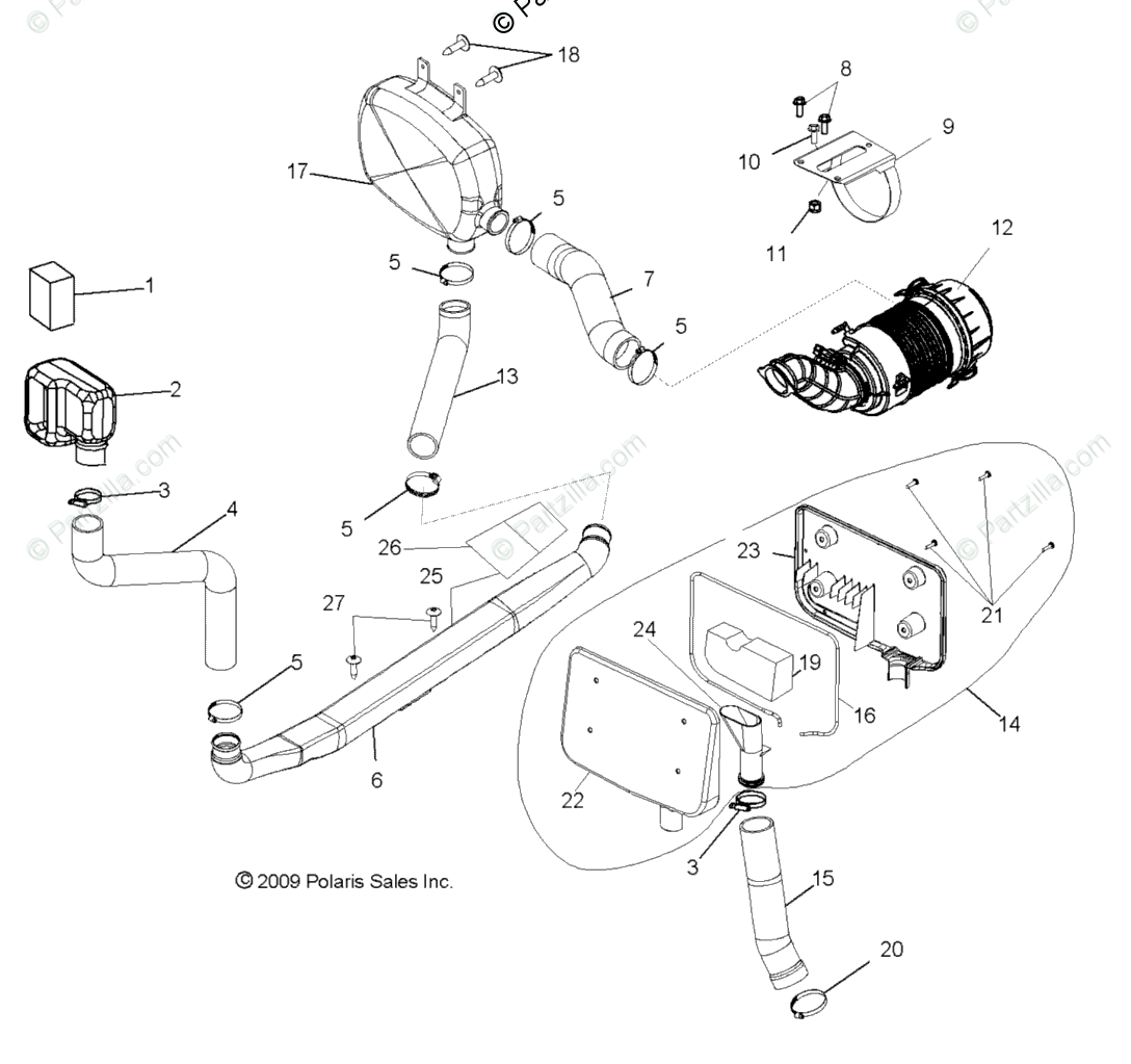 Polaris Side By Side Oem Parts Diagram For Engine Air