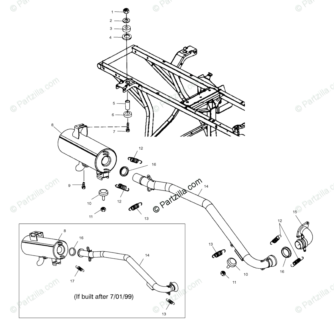 Polaris Atv Oem Parts Diagram For Exhaust System