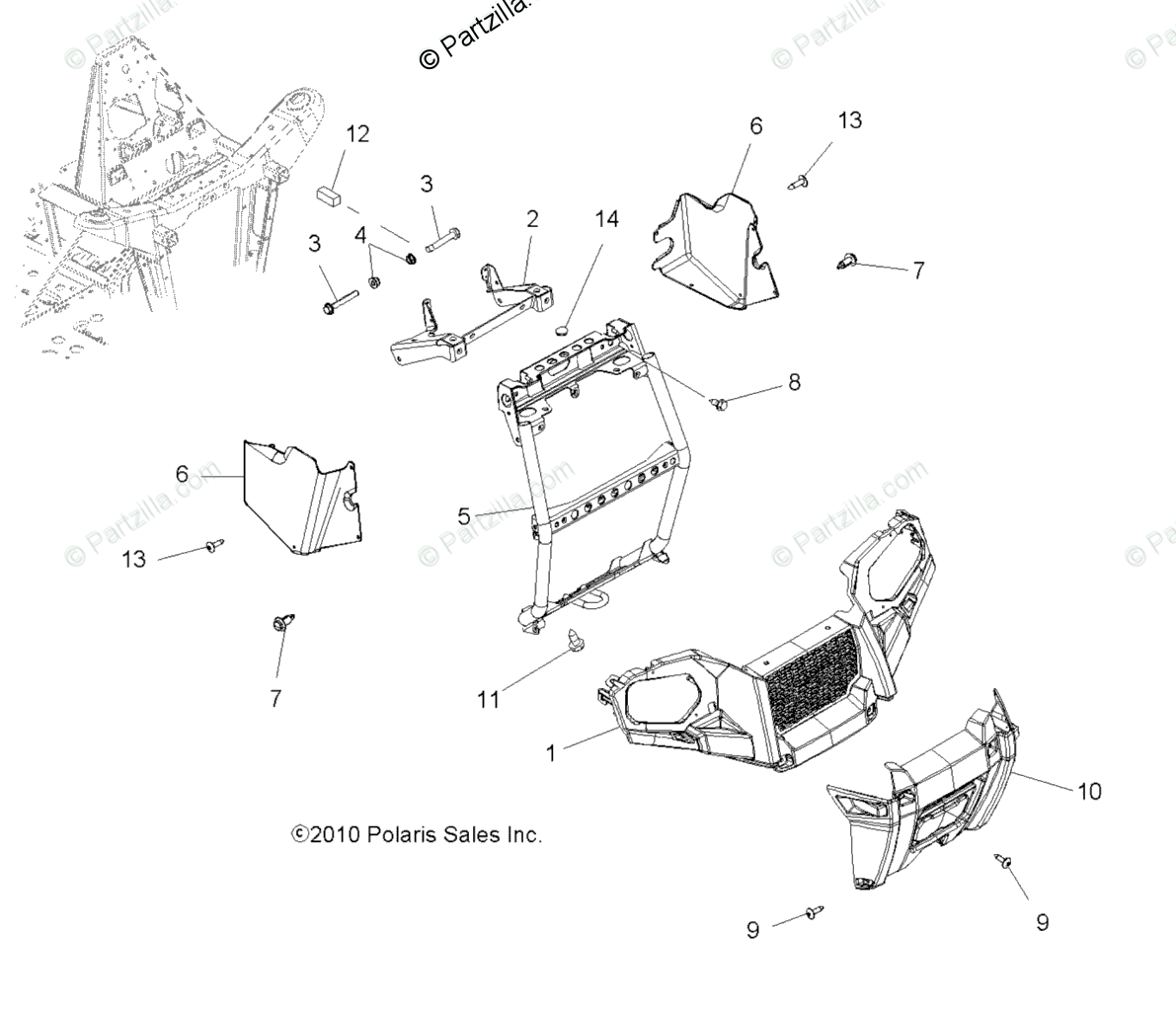 Polaris Atv Oem Parts Diagram For Body Front Bumper