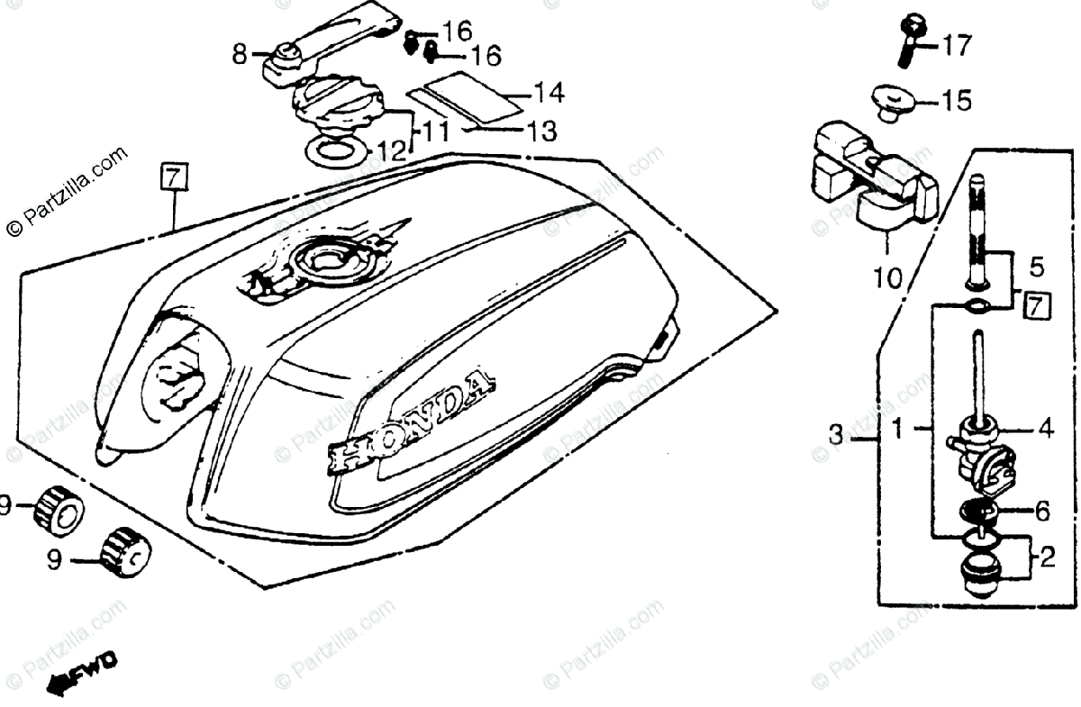 Honda Motorcycle Oem Parts Diagram For Fuel Tank