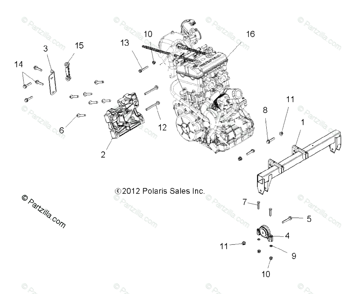 Polaris Side By Side Oem Parts Diagram For Engine Engine Mounting All Options