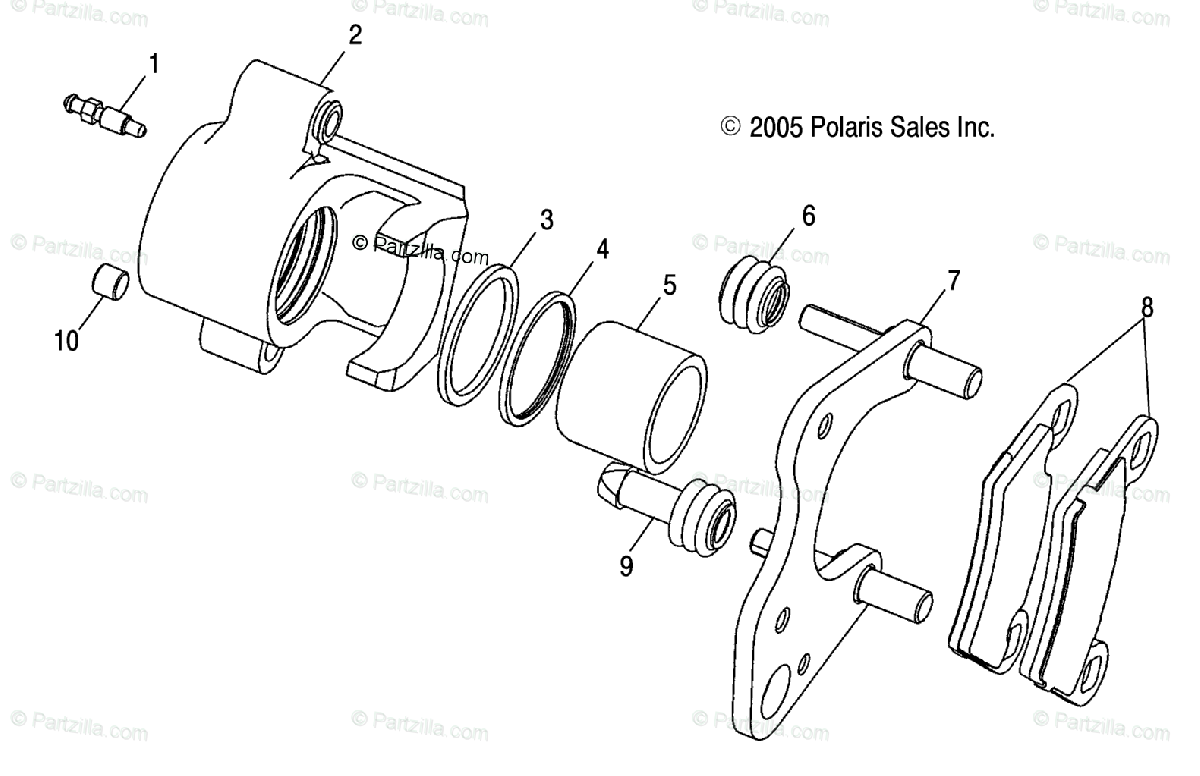 Polaris Side By Side Oem Parts Diagram For Front Brake Caliper A04rd50aa Ab Ac A04rf50aa