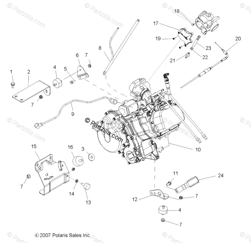 Polaris Side By Side Oem Parts Diagram For Engine Mounting