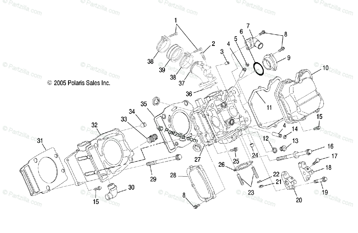 Polaris Atv Oem Parts Diagram For Cylinder Ax Ay Az
