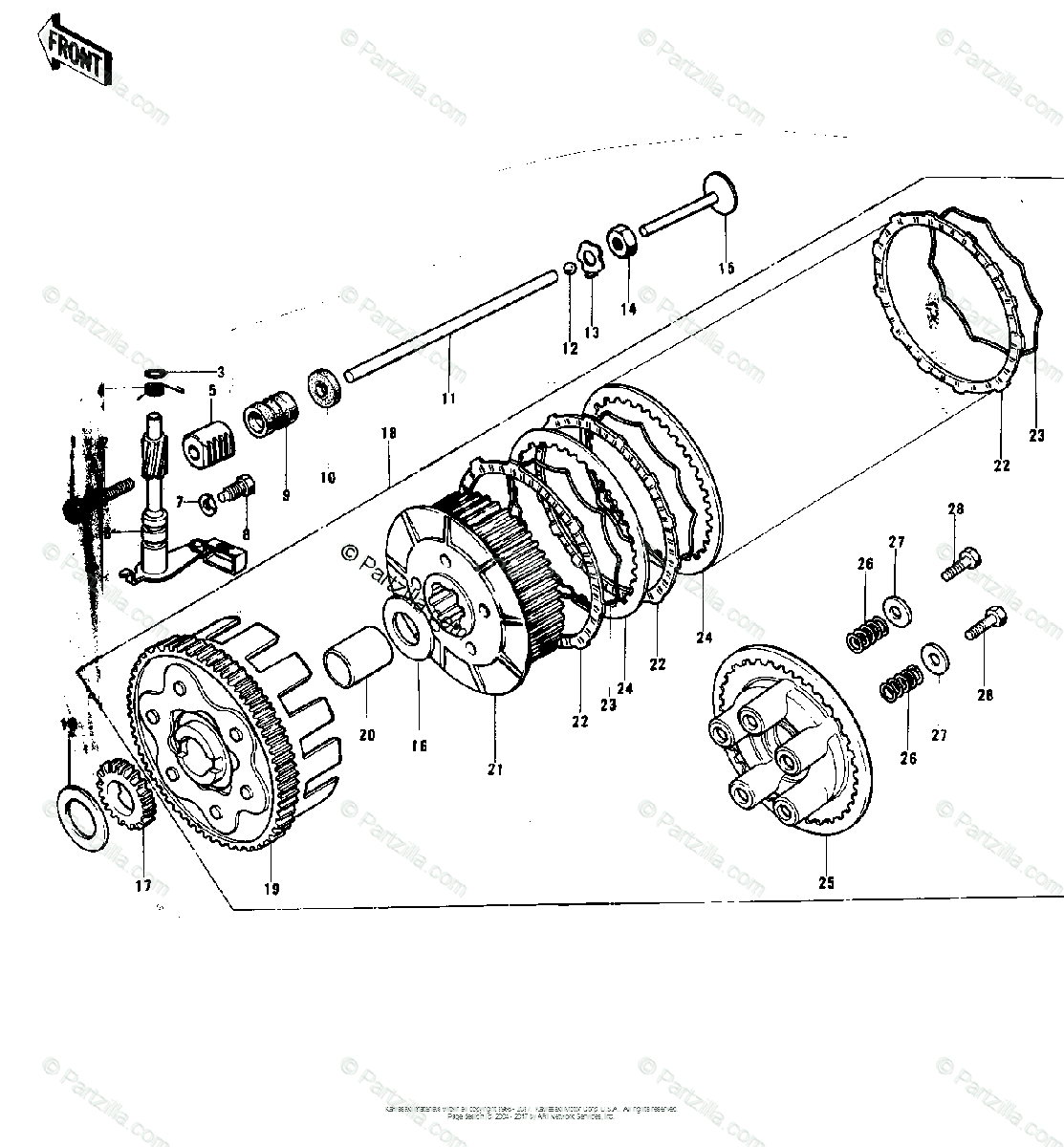 Kawasaki Motorcycle Oem Parts Diagram For Clutch 74