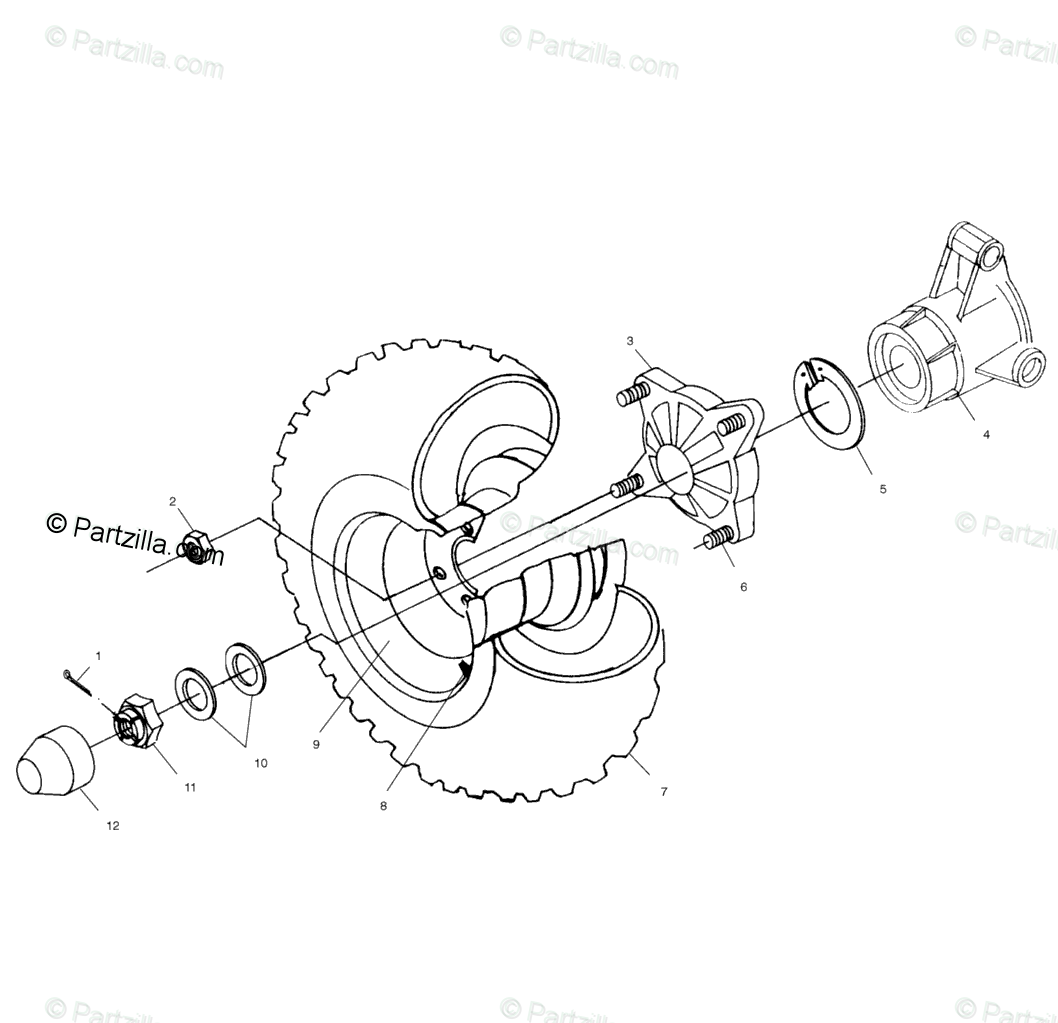 Polaris Atv Oem Parts Diagram For Rear Wheel Drive