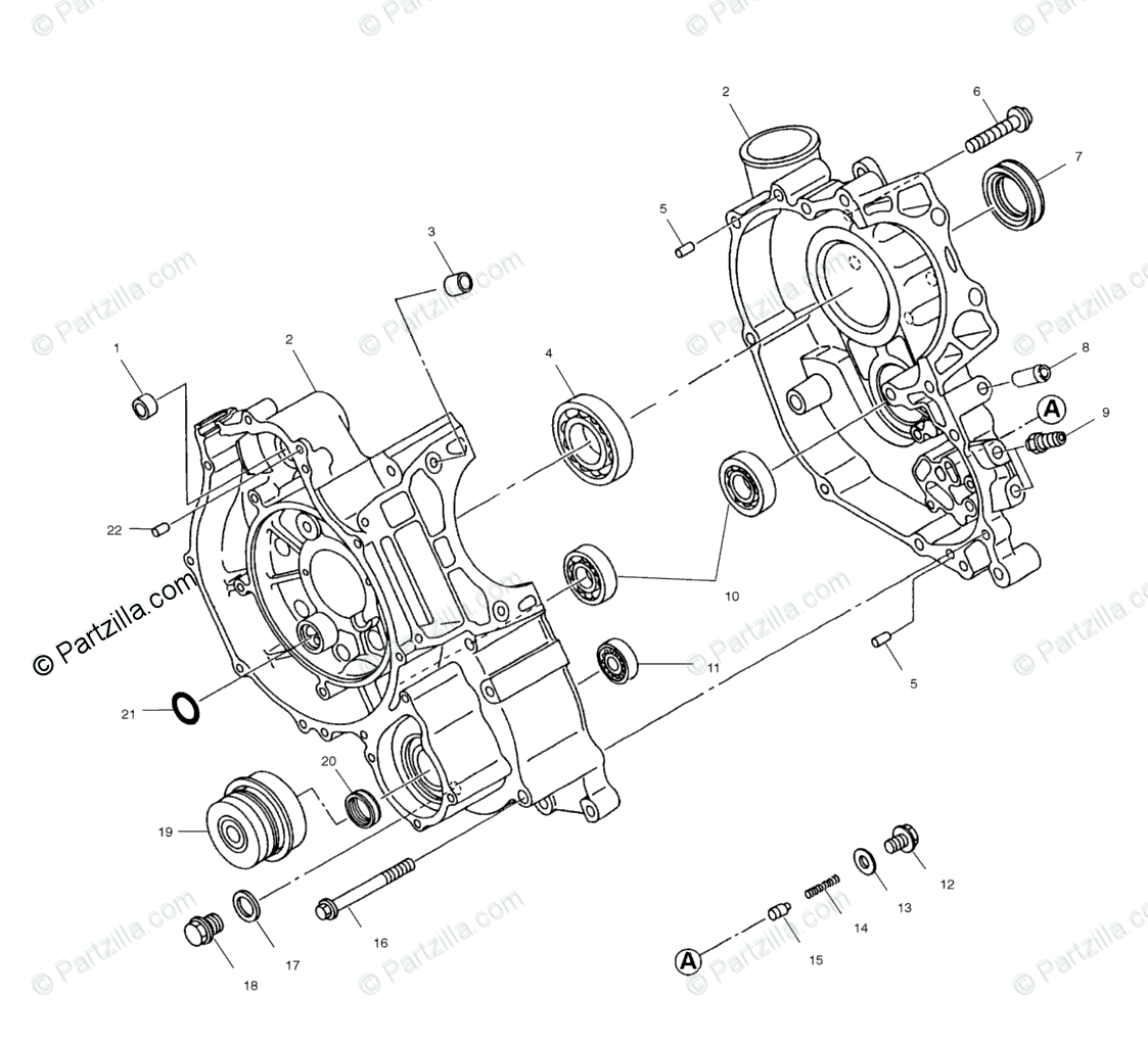 Polaris Atv Oem Parts Diagram For Crankcase A01ch50eb