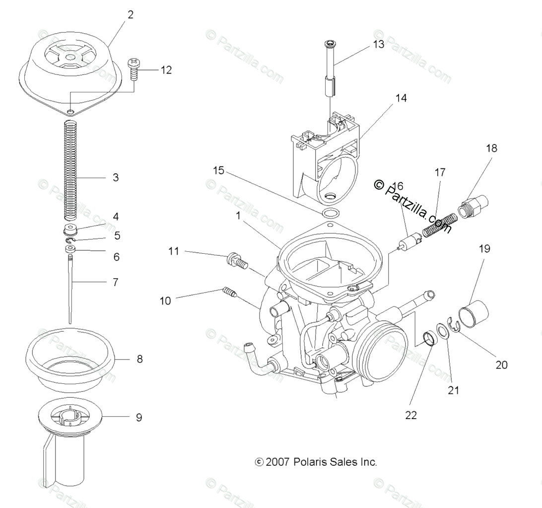 Polaris Atv Oem Parts Diagram For Engine Upper