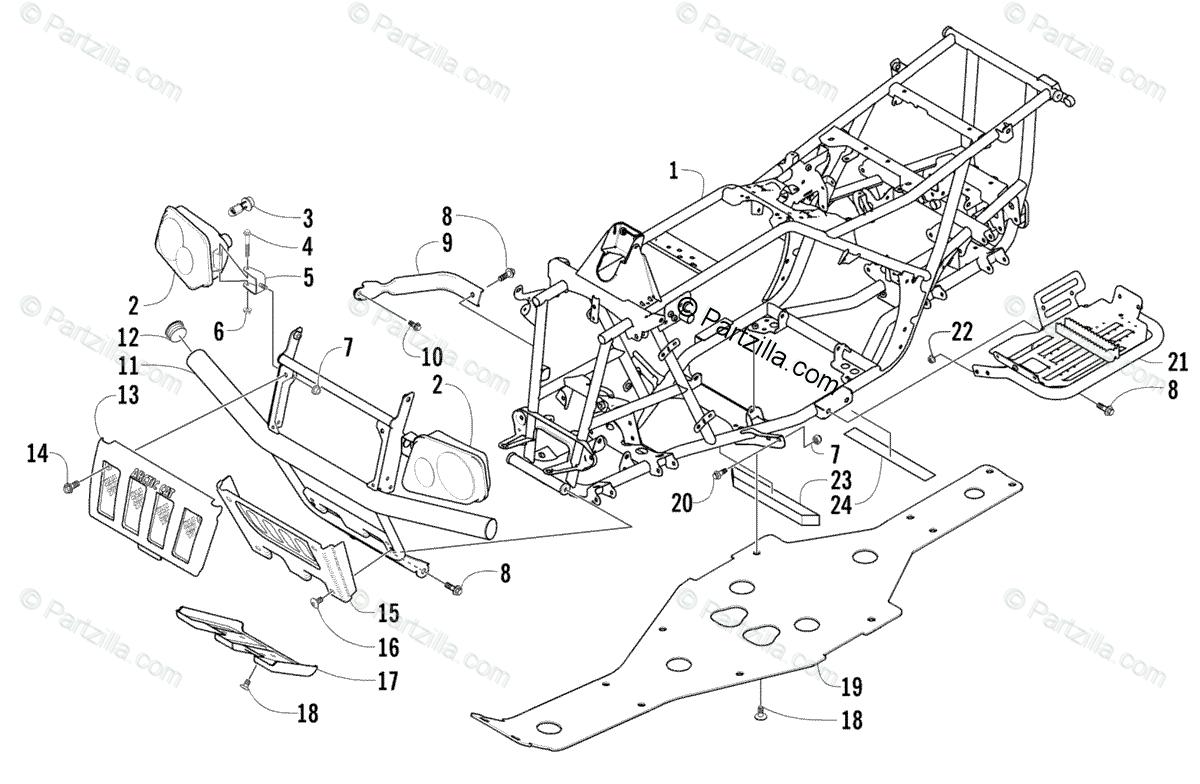 Arctic Cat Atv Oem Parts Diagram For Frame And
