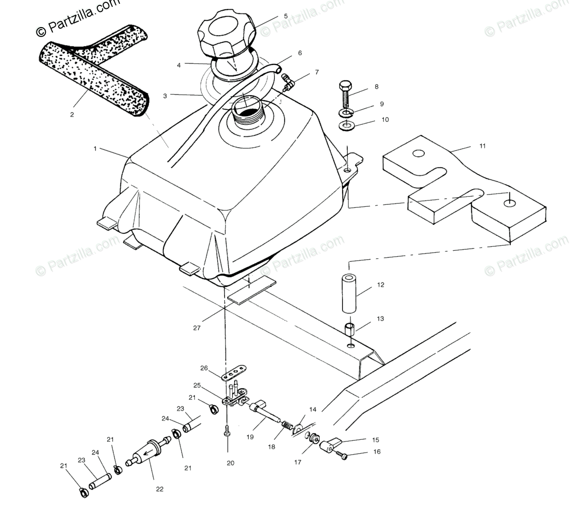Polaris Atv Oem Parts Diagram For Fuel Tank A01bg50aa