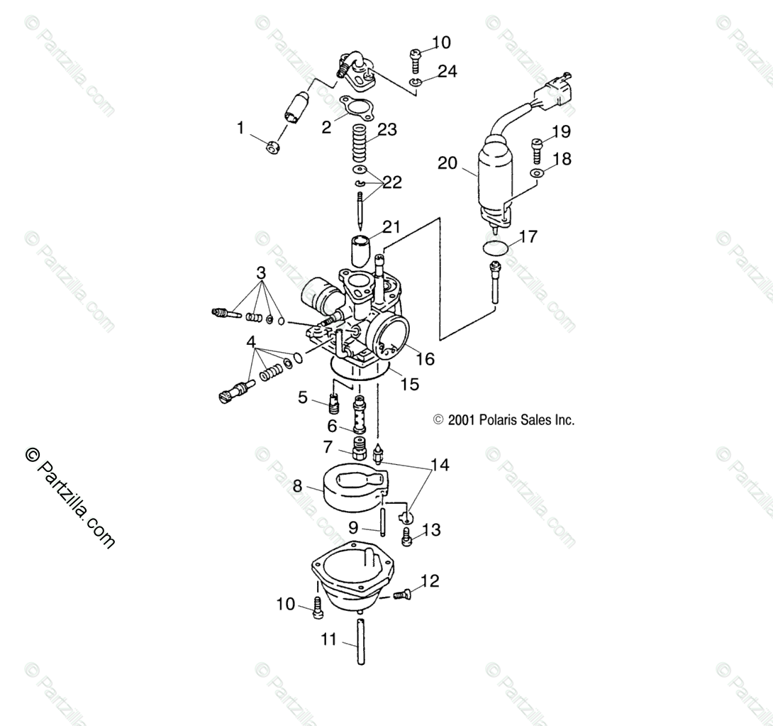 Polaris Atv Oem Parts Diagram For Carburetor