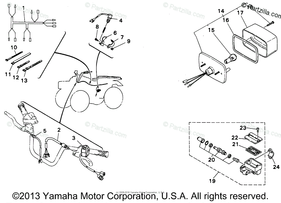 Yamaha Atv Oem Parts Diagram For Taillight Kit Maine
