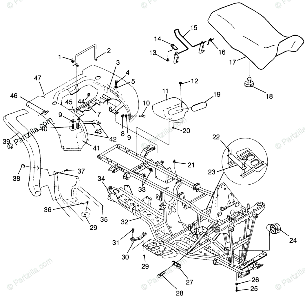 Polaris Atv Oem Parts Diagram For Rear Cab Amp Seat