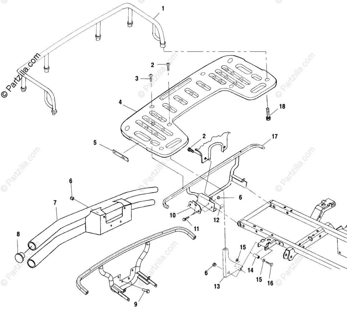 Polaris Atv Oem Parts Diagram For Rear Rack Mounting
