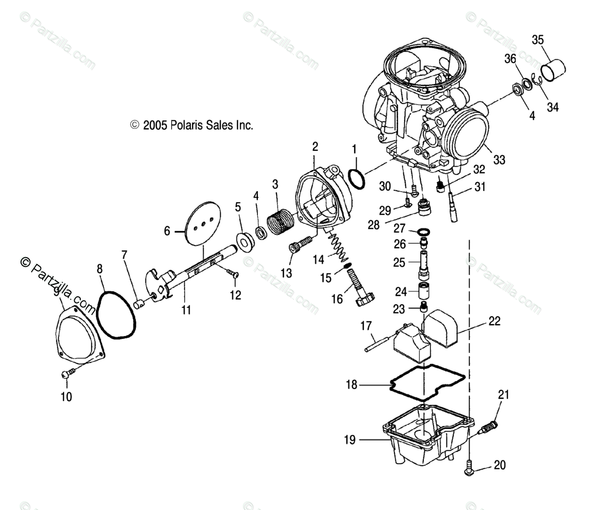 Polaris Atv Oem Parts Diagram For Carburetor Lower