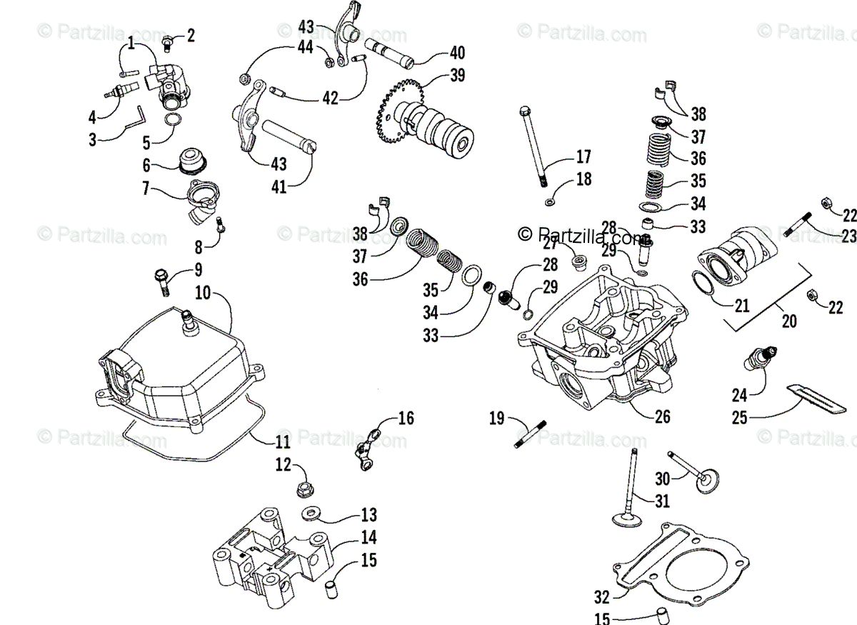 Arctic Cat Atv Oem Parts Diagram For Cylinder Head