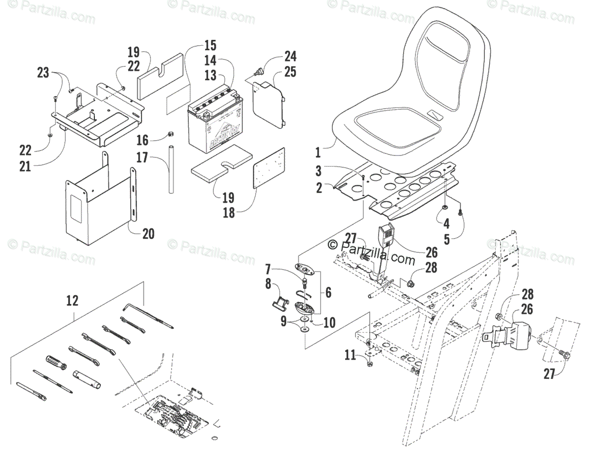 Arctic Cat Side By Side Oem Parts Diagram For Seat