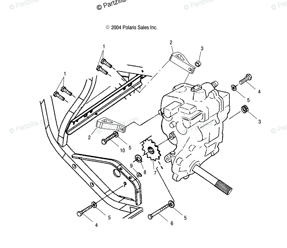 Polaris Atv Oem Parts Diagram For Gearcase Mounting