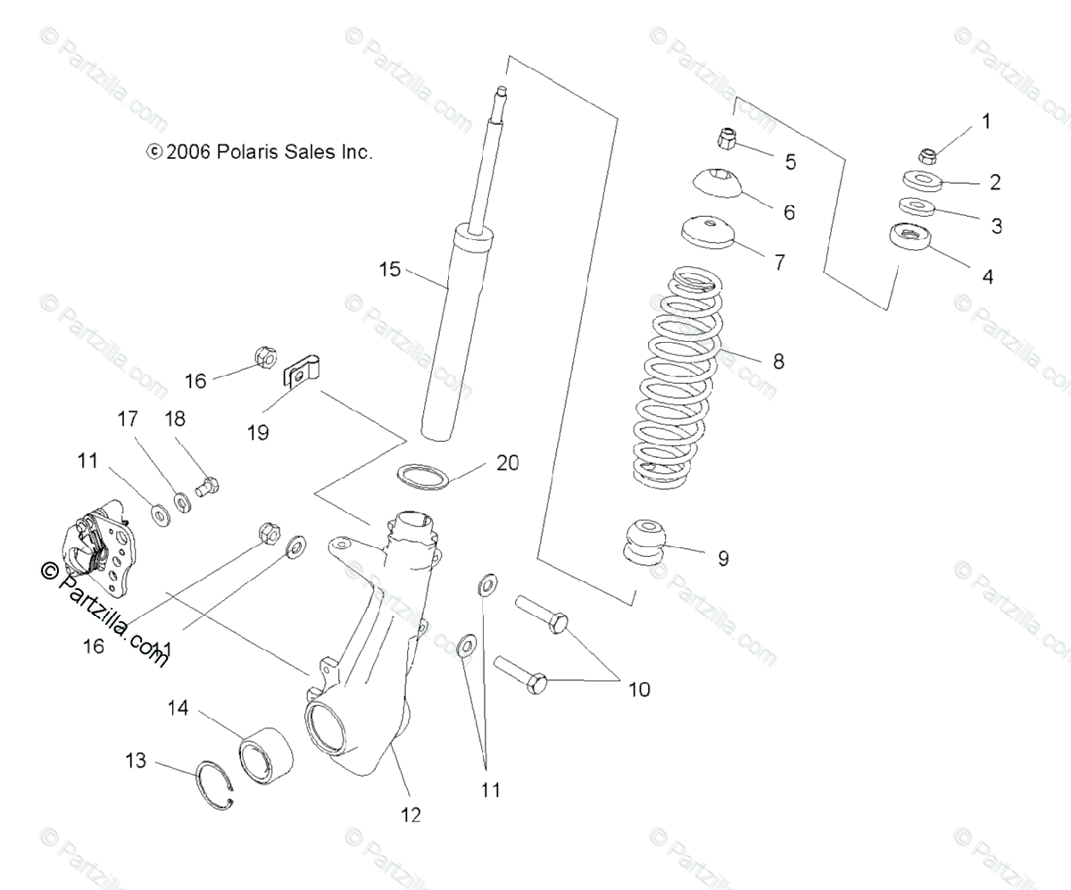 Polaris Atv Oem Parts Diagram For Strut Front
