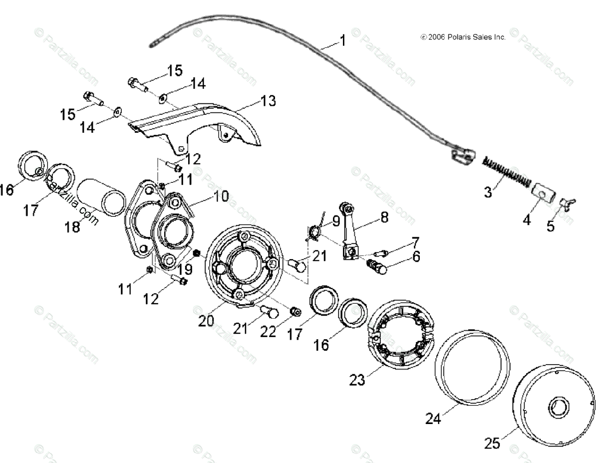 Polaris Atv Oem Parts Diagram For Brakes Rear
