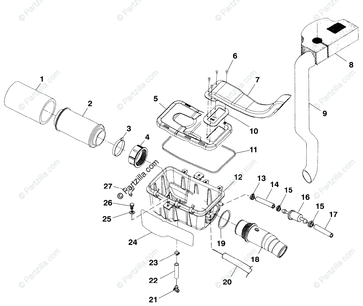 Polaris Atv Oem Parts Diagram For Air Box A99ch50eb