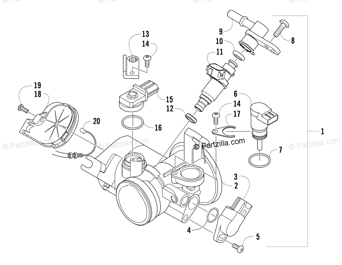 Arctic Cat Atv Oem Parts Diagram For Throttle Body