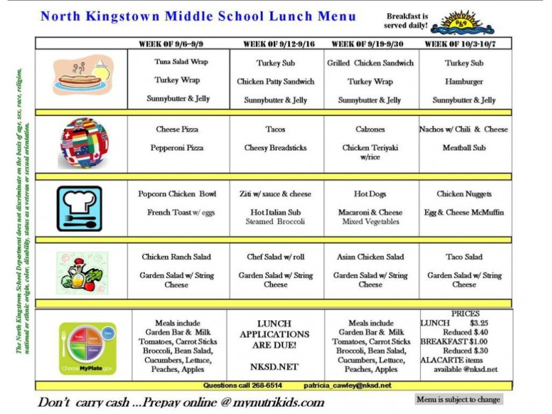 Lunch School Menu Lafayette
