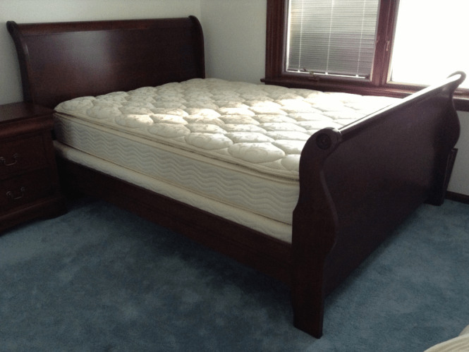 350 Cherry Wood Sleigh Bed Queen With Mattress Box Spring Sewickley Pa Patch