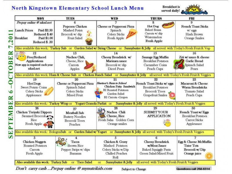 Lunch Menu Yonkers Public Schools