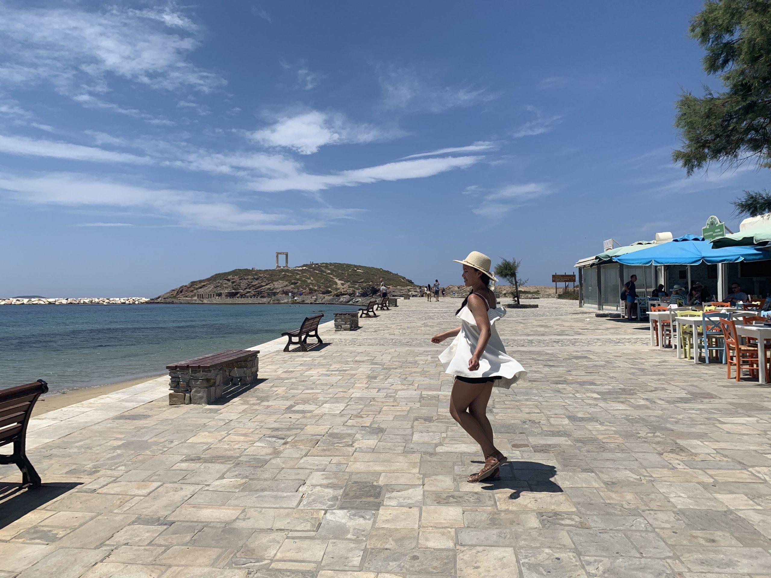 Running around Naxos town