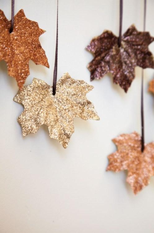 Foglie decorative glitter