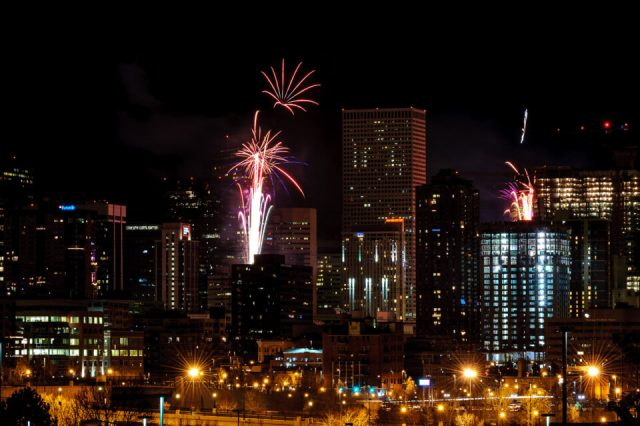 Another photograph of fireworks of Denver Downtown, but this time I zoomed out with my lens.