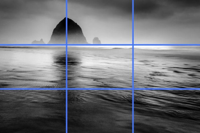 ตัวอย่างการใช้กฎสามส่วนในการวางองค์ประกอบภาพ โดยให้แบบหลักในภาพอยู่ที่จุดตัดเก้าช่อง, Source : Photographylife