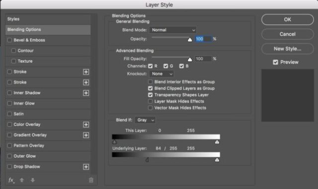 Settings for Blend If Underlying Layer