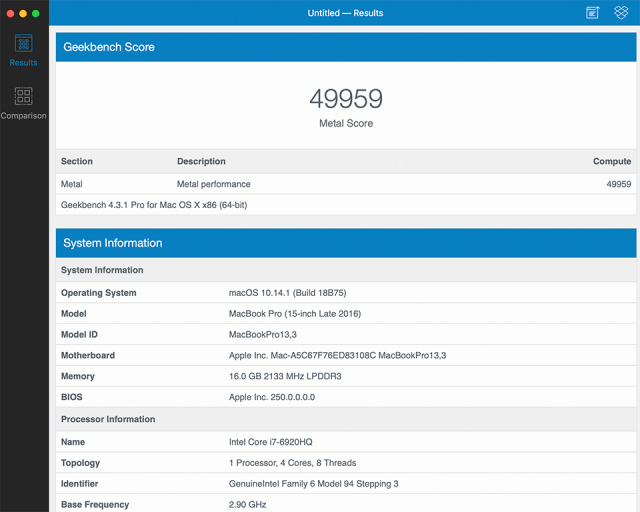 MacBook Pro 2016 Geekbench 4 Compute Score