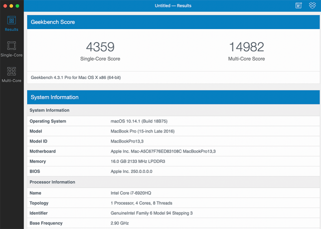 MacBook Pro 2016 Geekbench 4 Score