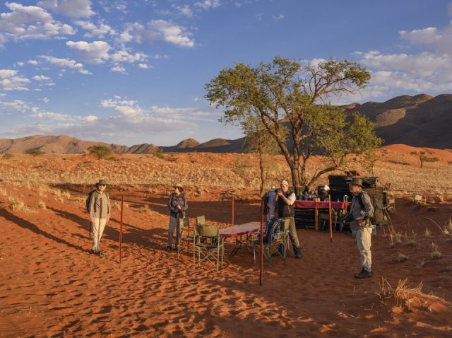 Second camp. Setting up the dinner table.