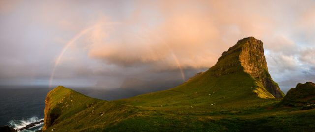 Panorama of a Rainbow Near Kalsoy Lighthouse, Faroe Islands