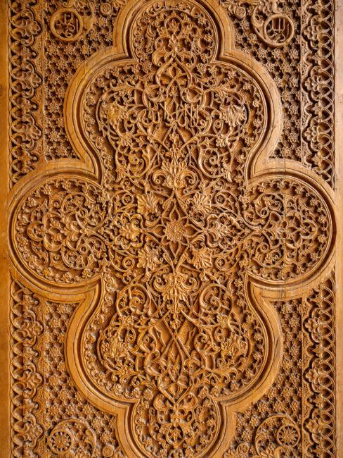 A wood-carved door from Samarkand Uzbekistan