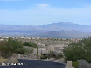 View of Four Peaks mountain down street.