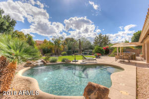 Solar heated Pool with Water Feature