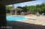 Pool, Gazebo, Firepit, and BBQ from Large Long Covered Patio.
