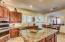 Stainless steel appliances, including wall oven with microwave/convention combo.