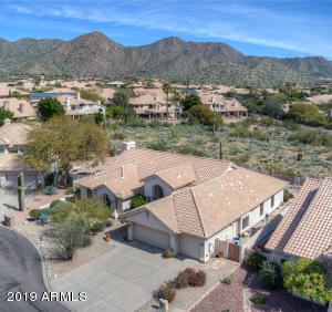 Aerial front view with McDowell Mountains behind