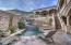 SPA TRICKLES INTO DIVING POOL THAT FLOWS GENTLY INTO LOWER PLAY POOL
