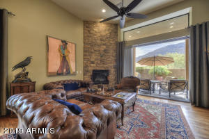 Living area with fireplace and invisible door to bring you right outside!