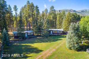 Panoramic aerial view of the cabins.