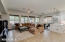 Large open concept family room/ dining kitchen