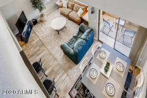Birds eye view of great room from loft