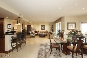 Open floorplan with formal dining room, breakfast bar and majestic views of Westin Kierland Golf Course